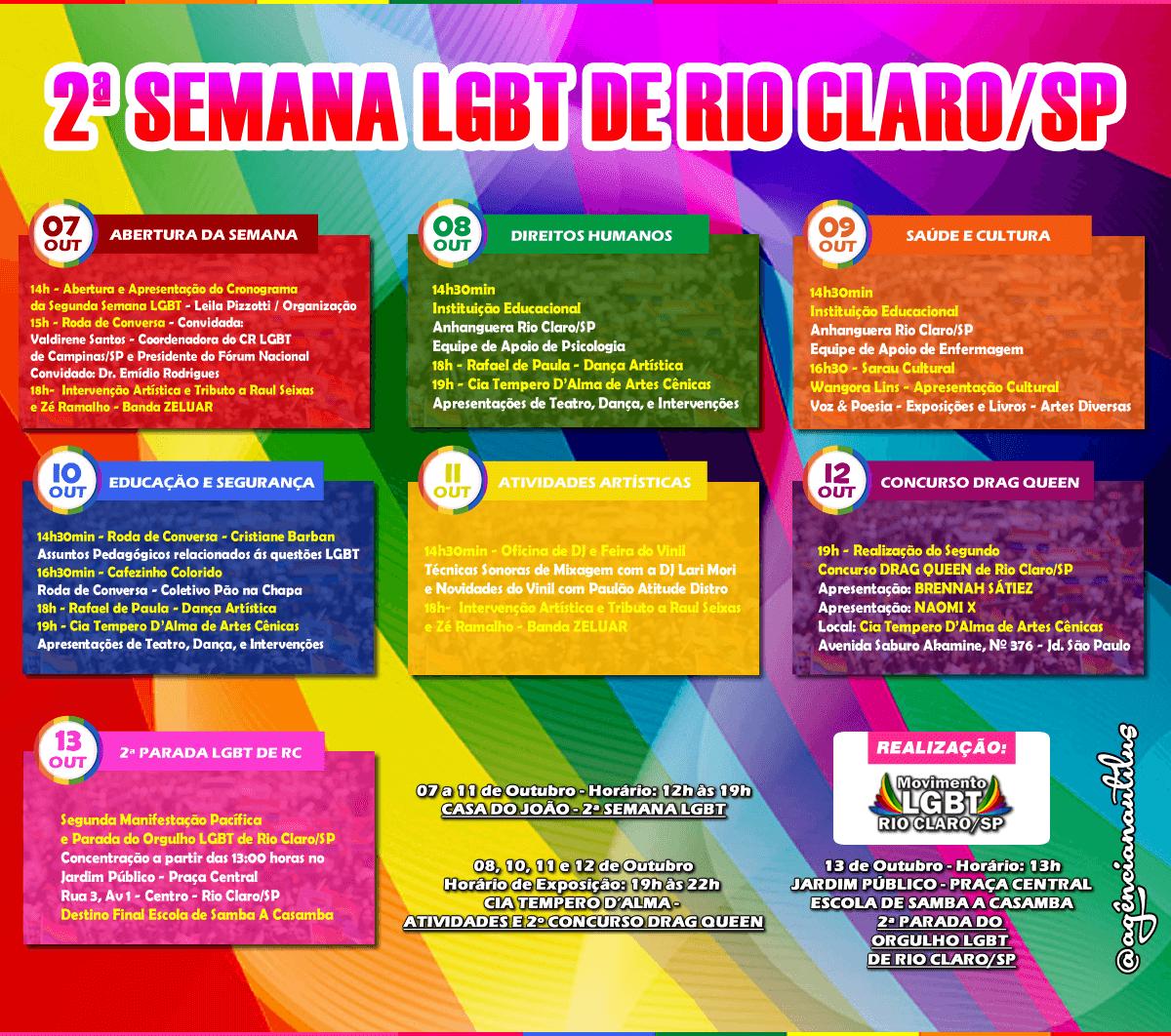 CARTAZ DA SEGUNDA SEMANA LGBT DE RIO CLARO SP - ANO DE 2019
